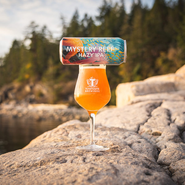 Mystery-Reef-Hazy-IPA-Beer-In-Glass-Can-On-Top